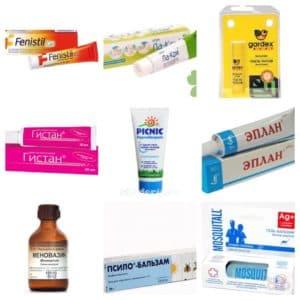Медицинские препараты и мази от укусов насекомых