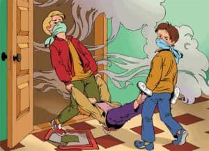 Вынести потерпевшего на воздух из загазованного помещения