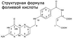 Структурная формула фолиевой кислоты