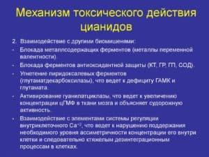 Механизм токсического действия цианидов