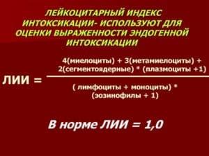 Формула для расчета лейкоцитарного индекса интоксикации