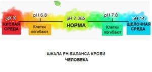 Шкала рН-баланса крови человека