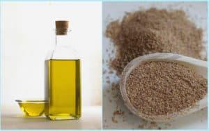 Подсолнечное масло и порошок из льна